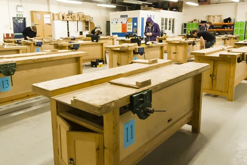 Construction teaching workshop featuring several work benches at Malvern Campus