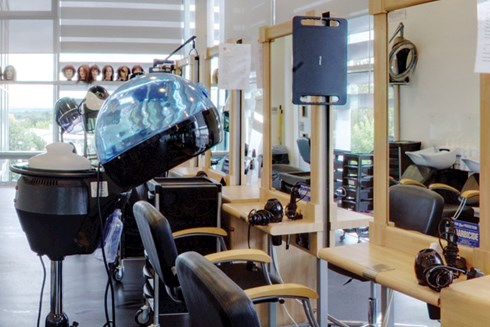 An interior photo of the empty Fusion Hair Salon at Heart of Worcestershire College