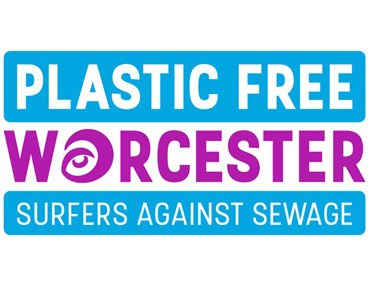 Image with the text: Plastic Free Worcester Surfers Against Sewage