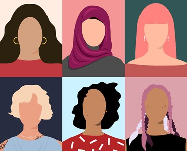 Poster containing 9 graphics representing 9 different types of female portraits with no facial features. Poster contains college logo and #FearlessFemales