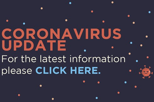 web banner with text: Coronavirus update for the latest information please click here