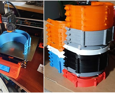 Image collage of 3D printer and orange, grey, blue, red, white and black PPE Visor headbands
