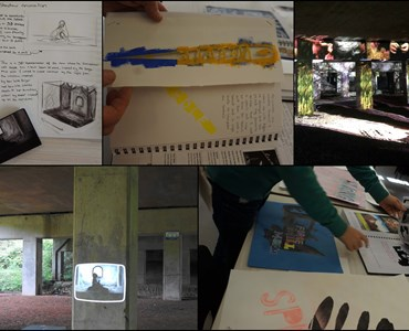 Photo collage of various sketches, art books and outdoor exhibits