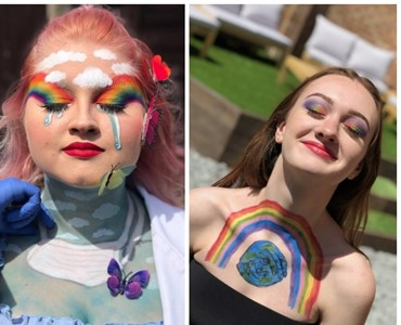 Collage of 4 females portrait photos with various rainbow makeup and 3D butterflies