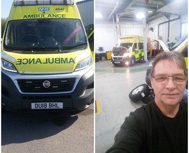Image collage of ambulances and a male mechanic