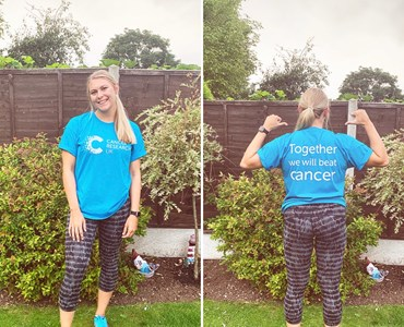 Collage of blonde female wearing blue cancer research UK t-shirt.