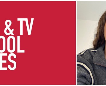 Collage of red logo that reads 'Film & TV School Wales' in white letters, and an image of a female student smiling with long brown hair.