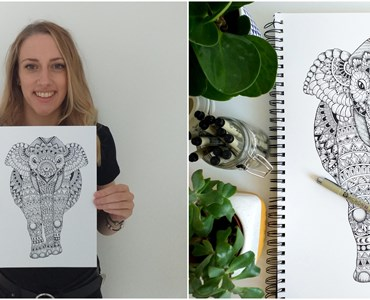 Collage for 2 images; left image of female smiling while holding a drawing of an elephant. Right image of fine drawing of an elephant with green plants and a pot of black pens.