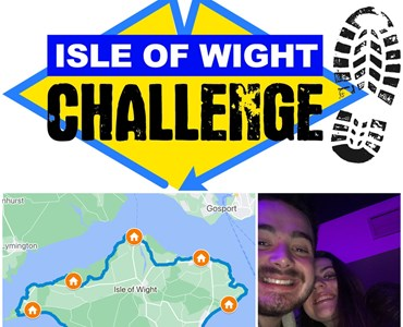 Collage of 3 images. Top image is a logo in the shape of the diamond with the writing 'Isle of Wight Challenge' and a footprint next to it. Bottom left image is a map of the isle of Wight. Bottom right image is a picture of a male and female smiling together.