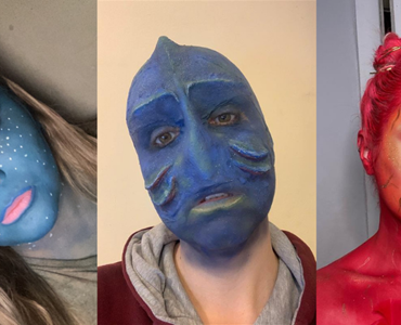 Collage of three Theatrical and media makeup students wearing blue and red make-up to create a fantasy character look